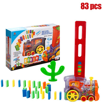 83 sztuk Domino pociąg klocki do budowy zestaw zabawek budynek stos rajd pociąg elektryczny zabawkowy model Domino zabawka dla dzieci prezent tanie i dobre opinie LISHEN Building Blocks Transport 2-4 lat 5-7 lat Z tworzywa sztucznego
