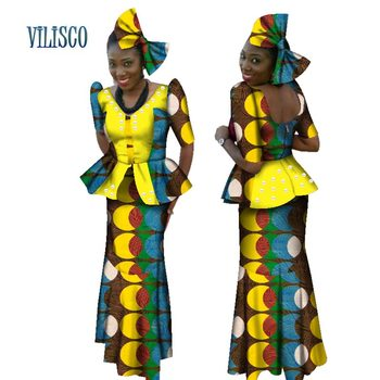 African Beads Tops and Skirt Sets Bow Knot for Women Bazin Riche Traditional African Print 2 Piece Skirt Sets Clothing WY072