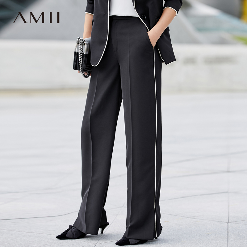 Amii Minimalism Spring Summer Suit Set Chiffon Wide Leg Pants Women Lapel Solid Suit Coat White Shirt 11887034