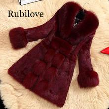 Rubilove Womens Faux Fur Coat Warm In Winter 3 Colors Imitation Fox Long Paragraph Large Collar Young Lady 2019 New