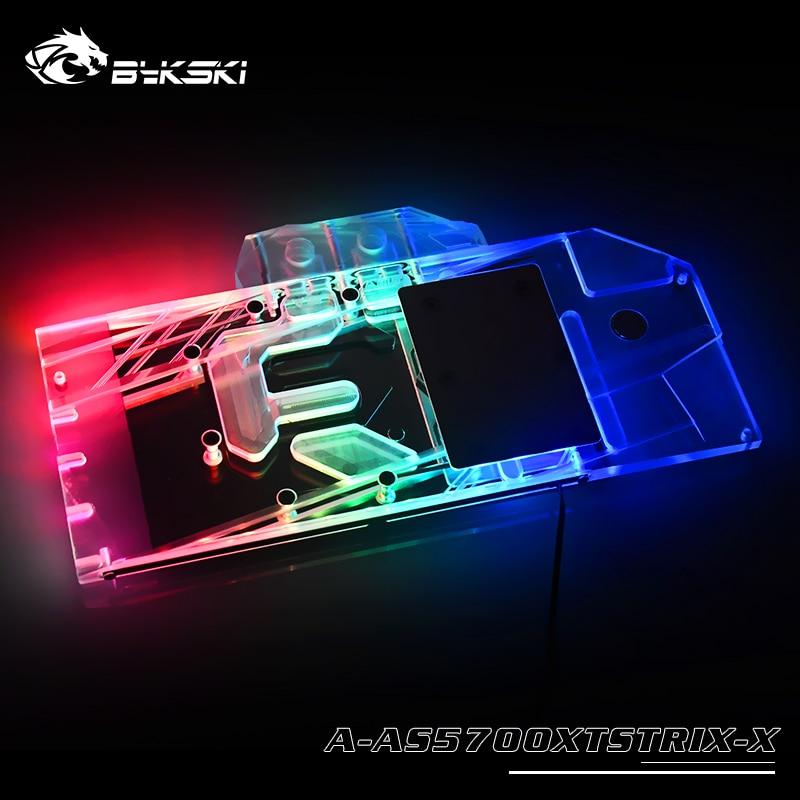 BYKSKI Water Block use for ASUS ROG-STRIX-RX5700XT-O8G-GAMING A-RGB/RGB Full Cover Copper Radiator Block Graphic Card Radiator