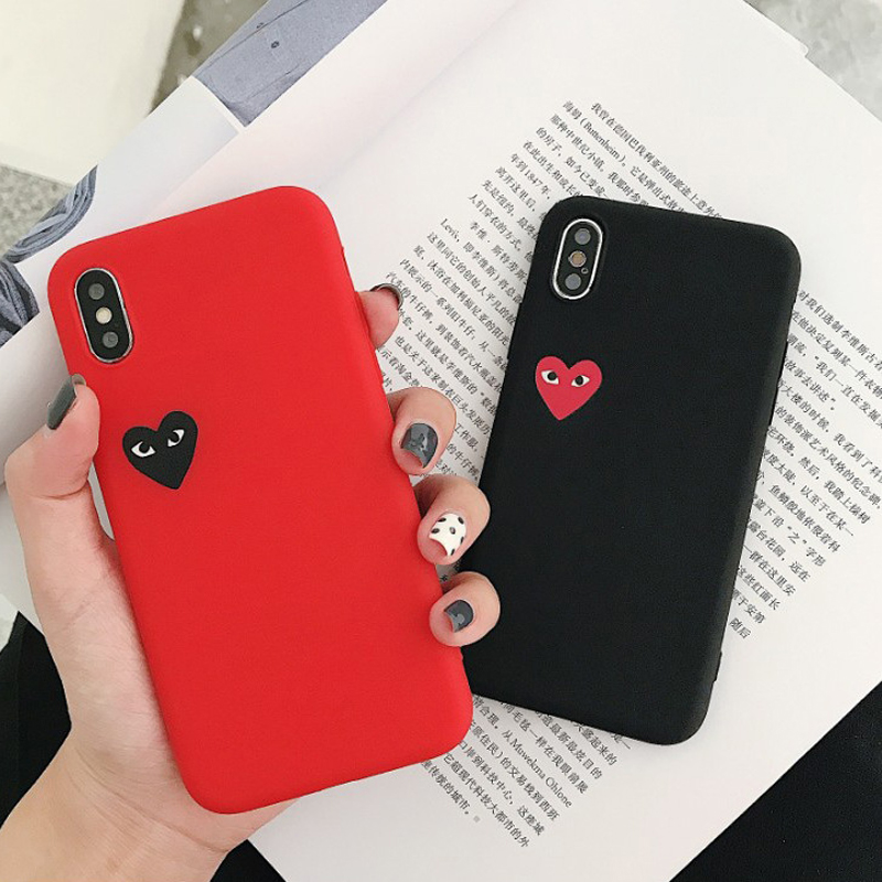 11 11Pro 11Pro Max Soft Silicone Heart Red Black For Iphone Case 7 Plus 8 Plus X XS XR 7 8