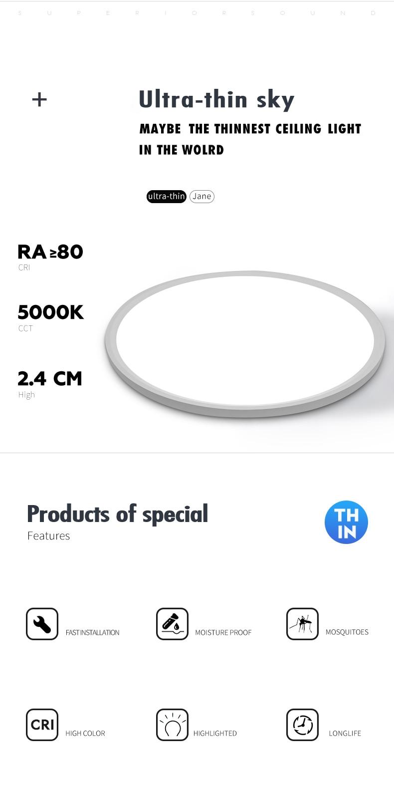 H09a0cdd2ffca4c8197487d8dd24adc46o Modern LED Ceiling Light 12W 18W 24W 32W 220V 5000K Kitchen Bedroom Bathroom Lamps Ultrathin Ceiling Lamp