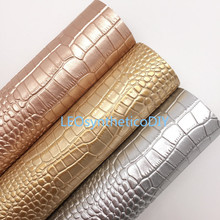 Fabric Making-Bows Crocodile Rose-Gold Faux-Leather for Leosyntheticodiy T418B 21X29CM