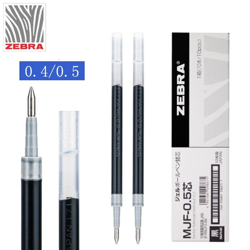 10pcs/lot Japan ZEBRA JJ77/JJS77 Replace Gel Pen Refill MJF-0.4 / 0.5 Student Black Signature Pen Refill Stationery Supplies