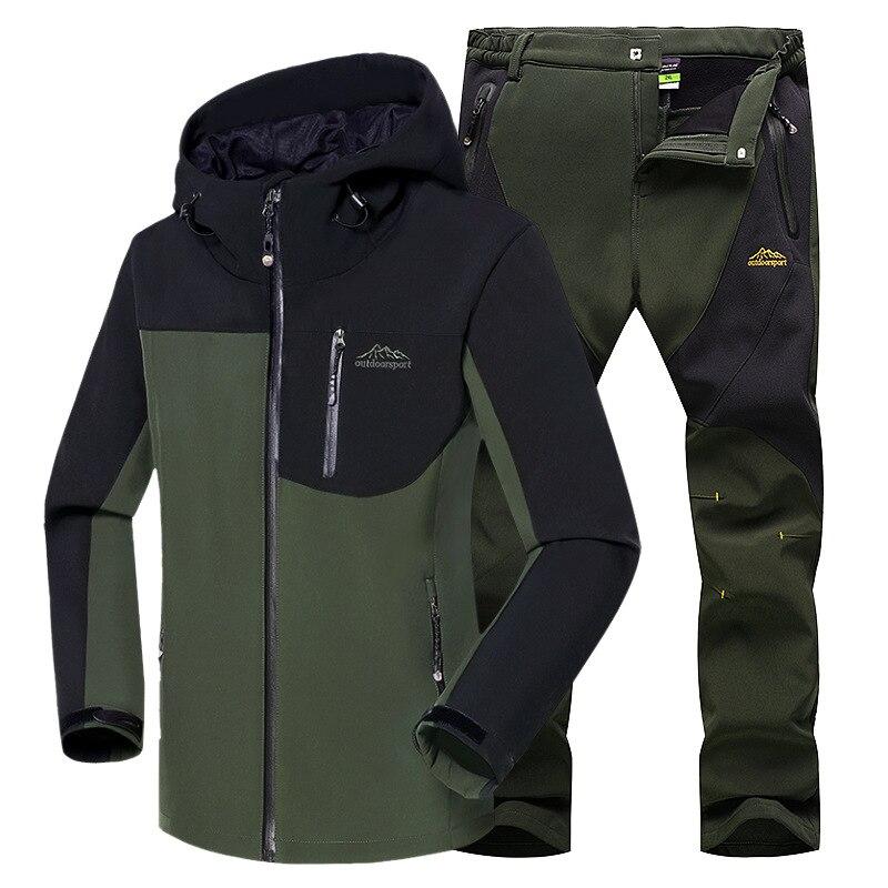 Men Winter Outdoor Jackets&Pants Fishing Thermal Sets Plus Size Waterproof Jackets Fishing Hiking Climbing Softshell Fleece Suit