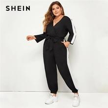SHEIN Plus Size Colorblock Superplie Front Belted Jumpsuit Vrouwen Lente Herfst Casual V Hals Lange Mouw Sporting Lange Jumpsuits