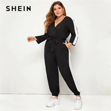SHEIN Plus Size Colorblock Surplice Front Belted Jumpsuit Women Spring Autumn Casual V Neck Long Sleeve Sporting  Long Jumpsuits