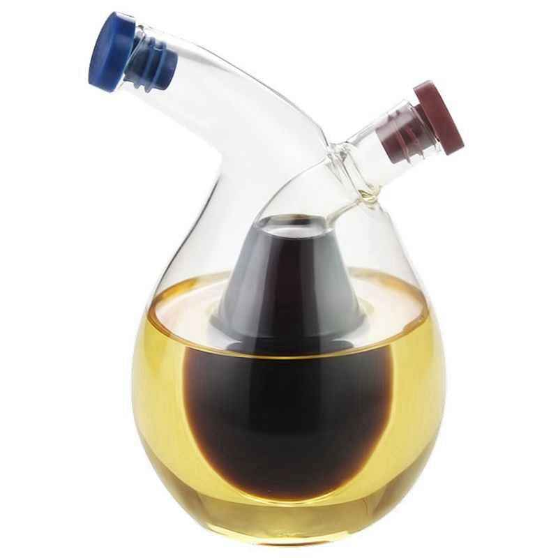 Juego de dispensador de vinagre y aceite cer/ámica y acero inoxidable Classico