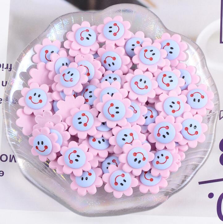 Embellishments Flower Flat Backs Cabochons Smiley Face Hair Bow Supplies Flatbacks Set of 8