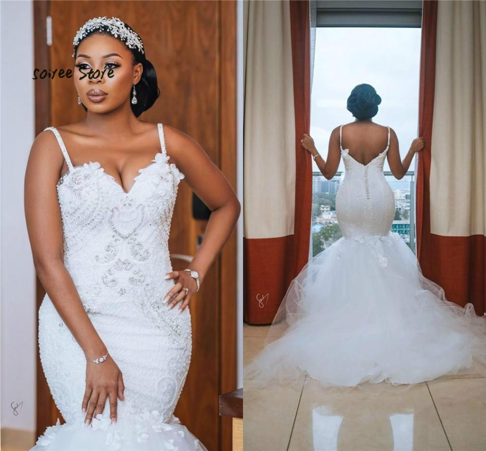 Sparkly African Mermaid Wedding Dresses Plus Size Beaded Spaghetti Strap Nigerian Wedding Gowns Tulle Trumpet Vestido Novia 2020