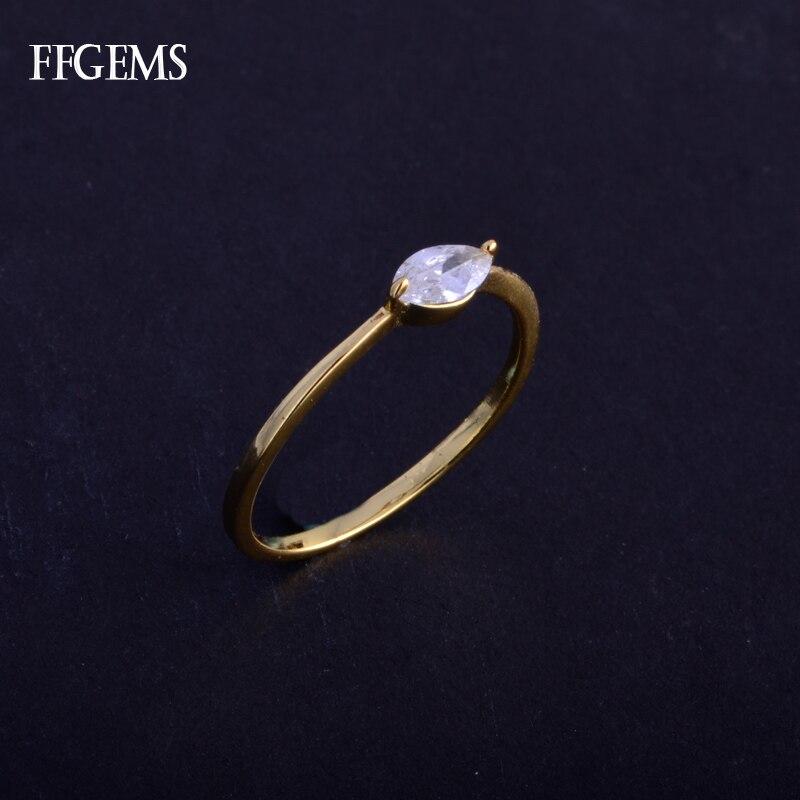 FFGems Настоящее 10K Золотое кольцо из стерлингового серебра Moissanite Mq3 * 6 мм ювелирные украшения для женщин подарок на свадьбу, помолвку