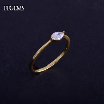 FFGems Real 10K Gold Ring Sterling Moissanite Mq3*6 mm Fine Jewelry For Women Engagement Wedding Gift image