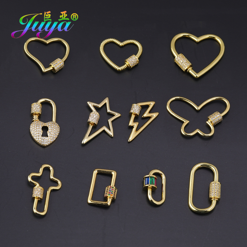 Juya DIY Jewelry Accessories Simple Design Decorative Gold Color Spiral Bolt Screw Clasps For Punk Jewelry Making Supplies