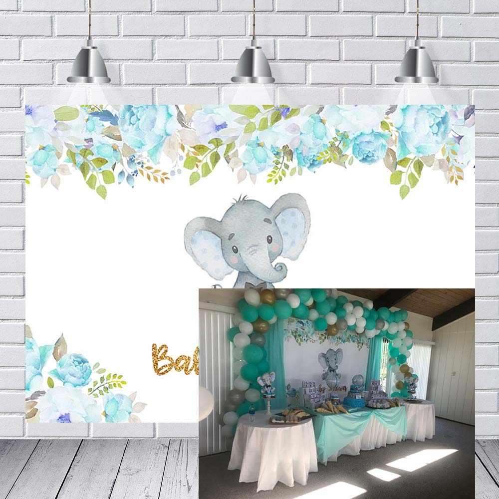 Festa di compleanno Fotografia Sfondi Baby Shower Acquerello Fiori Blu Elephant Boy Kids Party Banner Photocall