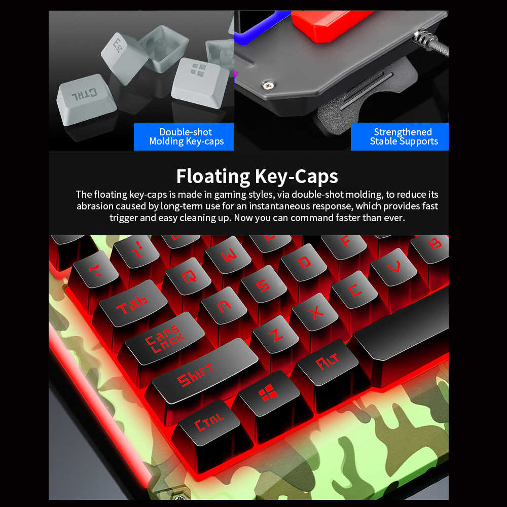 V200 Wired Gaming Combo 104 Kunci 19 Rollover Kabel Keyboard dengan Empat Warna Pernapasan Lampu Mouse Kit set untuk PC