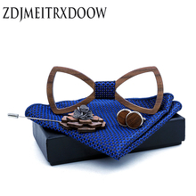ZDJMEITRXDOOW Paisley Wooden Bow Tie Handkerchief Set Men's Plaid Bowtie Wood cut out Floral design And Box Fashion Novelty ties