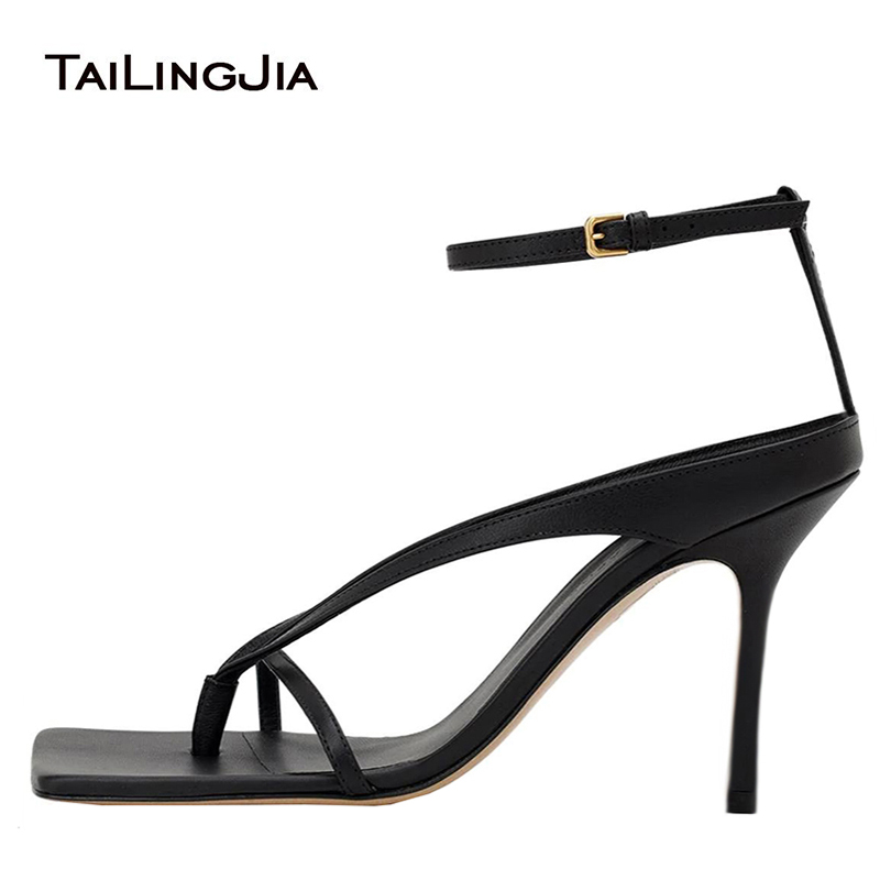 Thong Sandals Shoe Heeled Square Toe Women Ladies Ankle-Strap Black Fashion