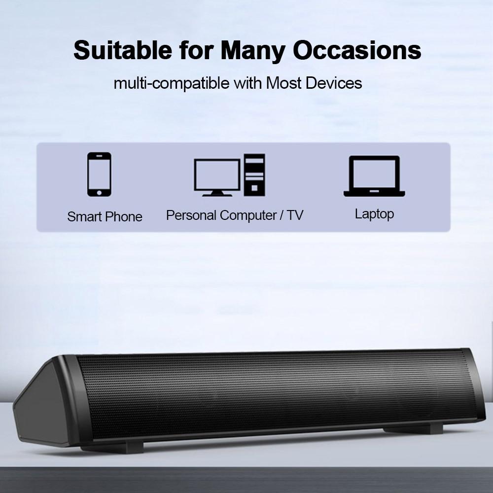 SADA проводной динамик компьютерный звуковой бар стерео USB питание Мини длинный Саундбар динамик звук богатый бас для ТВ