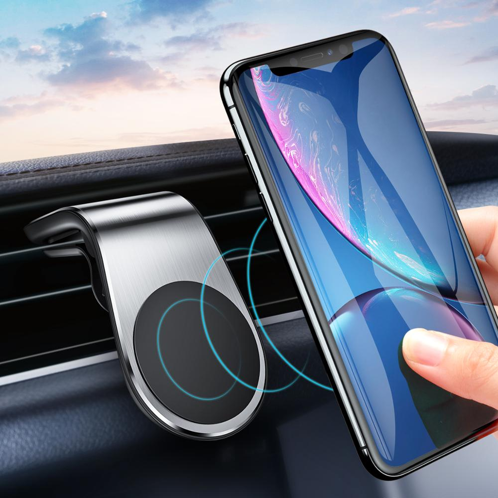 Metal Magnetic Car Phone Holder Mini Air Vent Clip Mount Magnet Mobile Stand For IPhone 11 Xiaomi Huawei Smartphones In Car