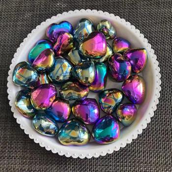 Aura tytanowe tęczowe serce naturalny kryształ kwarcowy kamienie uzdrawiające kamienie Reiki kamienie Home Decoration tanie i dobre opinie sisterstone CN (pochodzenie) Maskotka FENG SHUI Europa Aura Titanium Rainbow Heart Quartz crystals healing