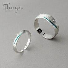 Thaya وقت السفر موجة الأزرق البنصر تكويم S925 فضة رسم خط فتح خواتم النساء مجوهرات اليدوية عاشق هدية