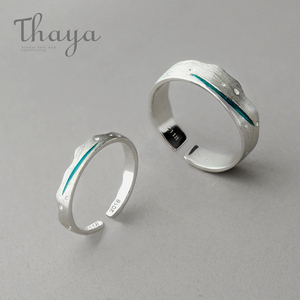 Image 1 - Thaya Time Travel Wave Blue Finger Ring Stackable S925 Sterling Silver Drawing Line Open Rings Women Jewelry Handmade Lover Gift