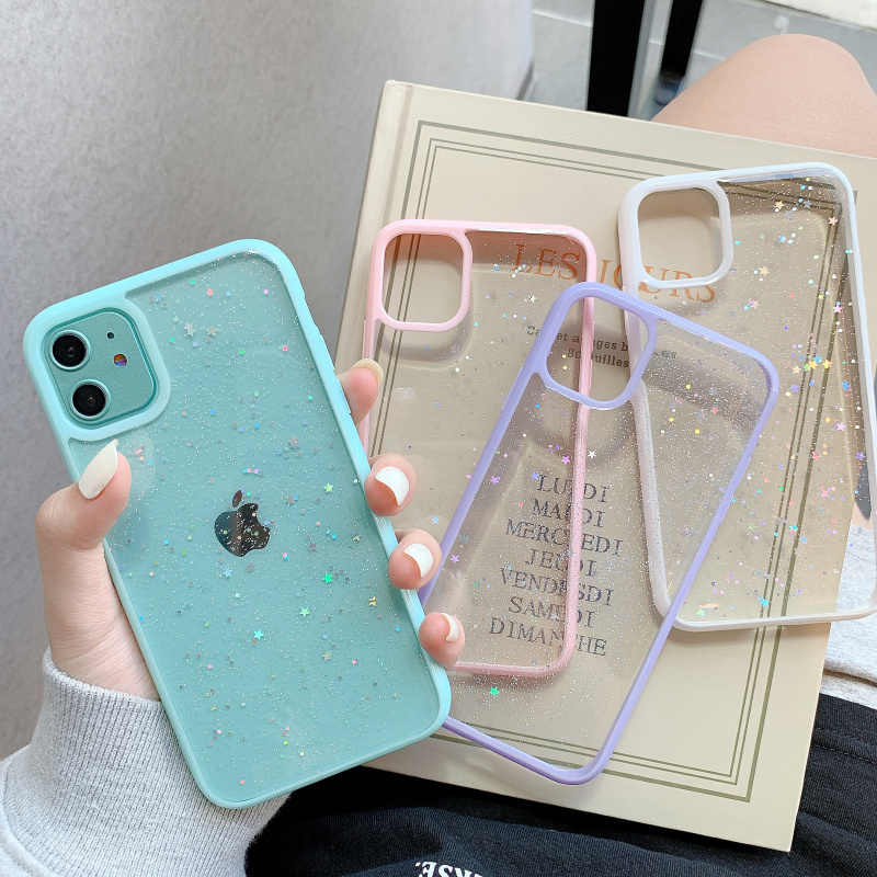 GIMFUN Star Bling 반짝이 전화 케이스 for Iphone 11 Pro Max Clear Back 러브 하트 Tpu 케이스 커버 for Iphone Xr X 7 6 8 Plus SE20
