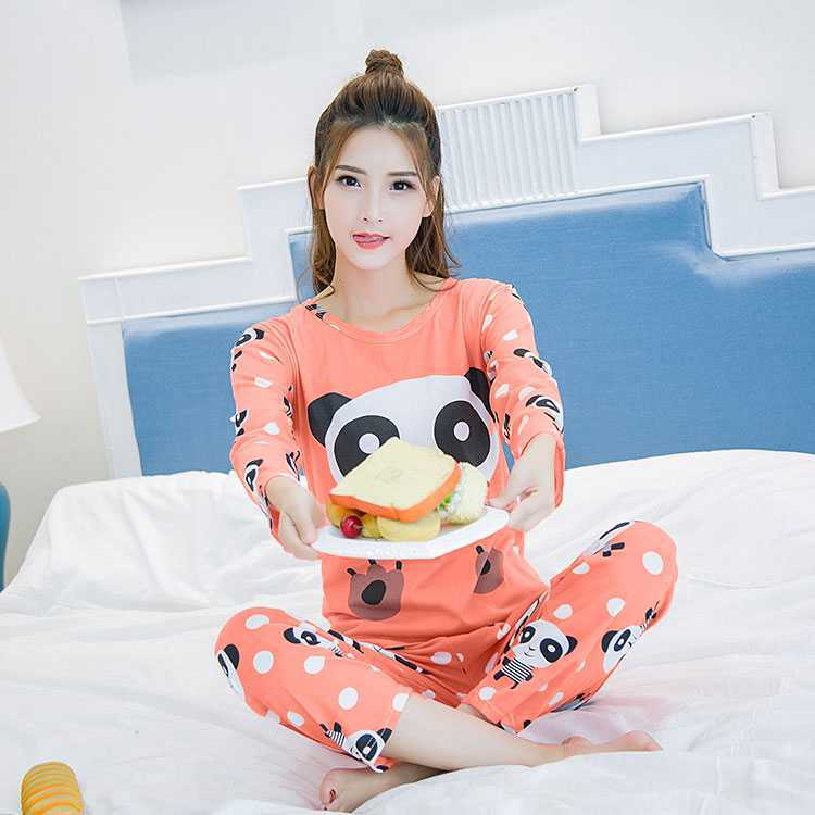 Cartoon Cute Big Head Bear Long Sleeve Pajamas Women's Spring And Autumn Summer Thin Section Qmilch Home Wear Women's Two-Piece