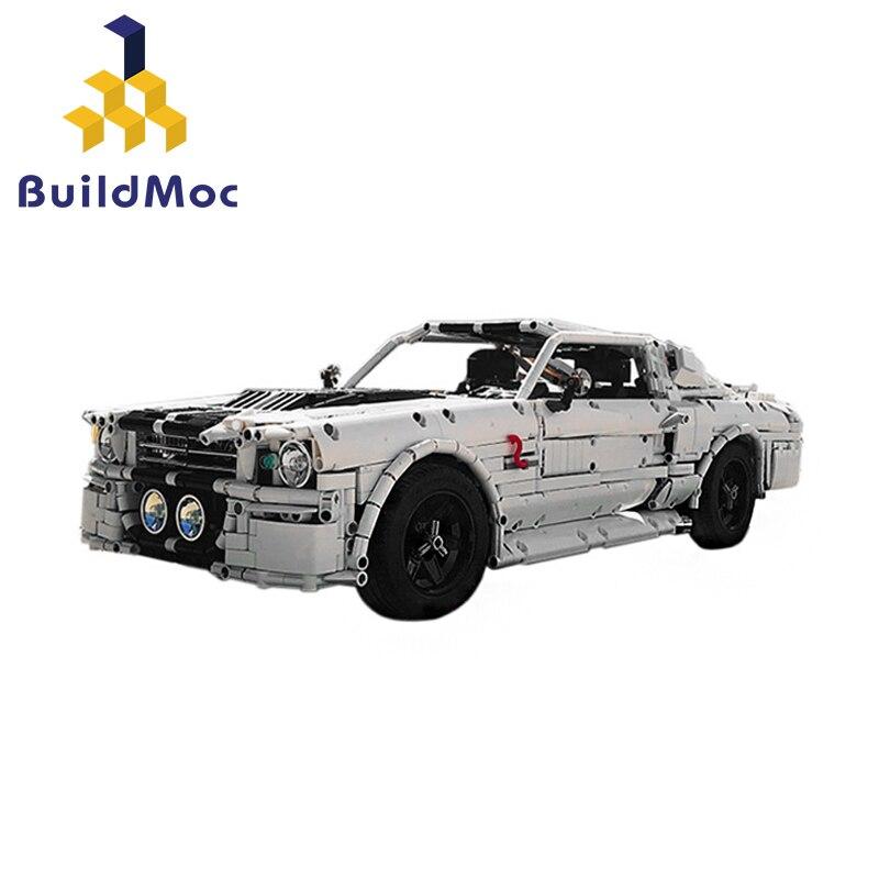 Buildmoc clásico Ford 1967 Eleanor Mustang de carreras de auto técnica MOC-14616 bloques de construcción de ladrillos chico DIY juguetes de regalo de cumpleaños Bloques de construcción para niños pequeños brillantes 50 Uds. Bloques grandes para bebés juguetes educativos grandes para niños EVA juego de simulación juguetes de espuma