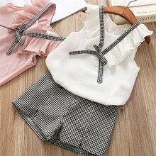 купить Girls Clothing Sets Summer Cotton Vest Two-piece Sleeveless Children Sets Casual Fashion Girls Clothes Suit Skirt 40 дешево