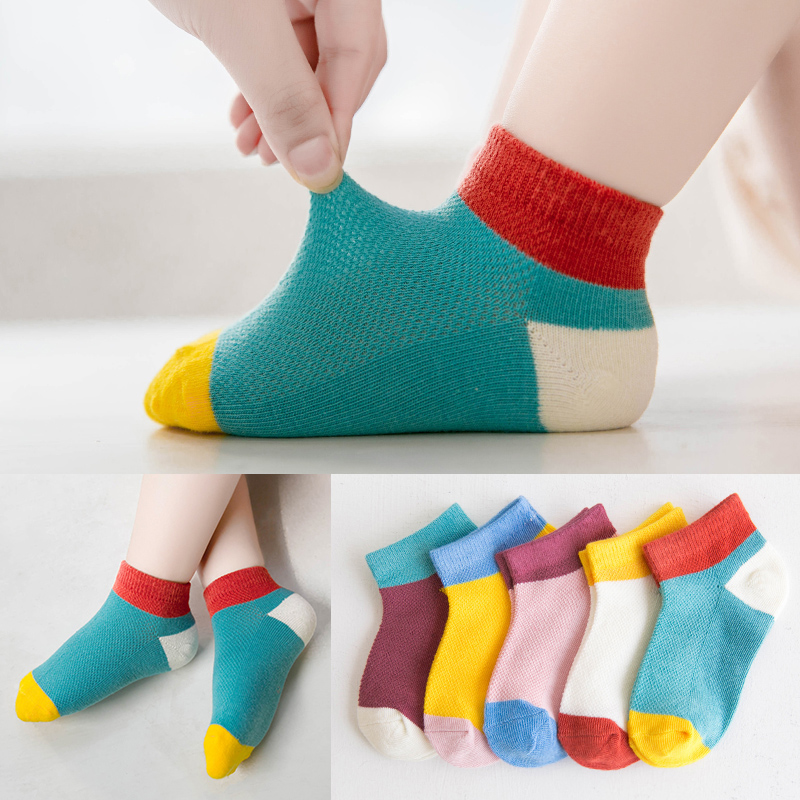 1-12y Kids Boys Socks Thin Teenagers Cotton Socks Contrast Color For Spring Summer Girl Toddler Crew Socks 5 Pairs / Lot