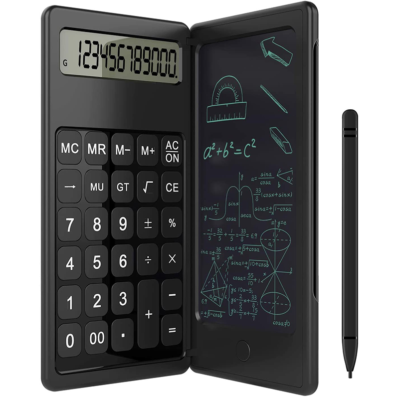 6 Inch LCD Writing Tablet Digital Drawing Pad Foldable Calculator 12 Digits Display with Stylus Pen Button Lock Function