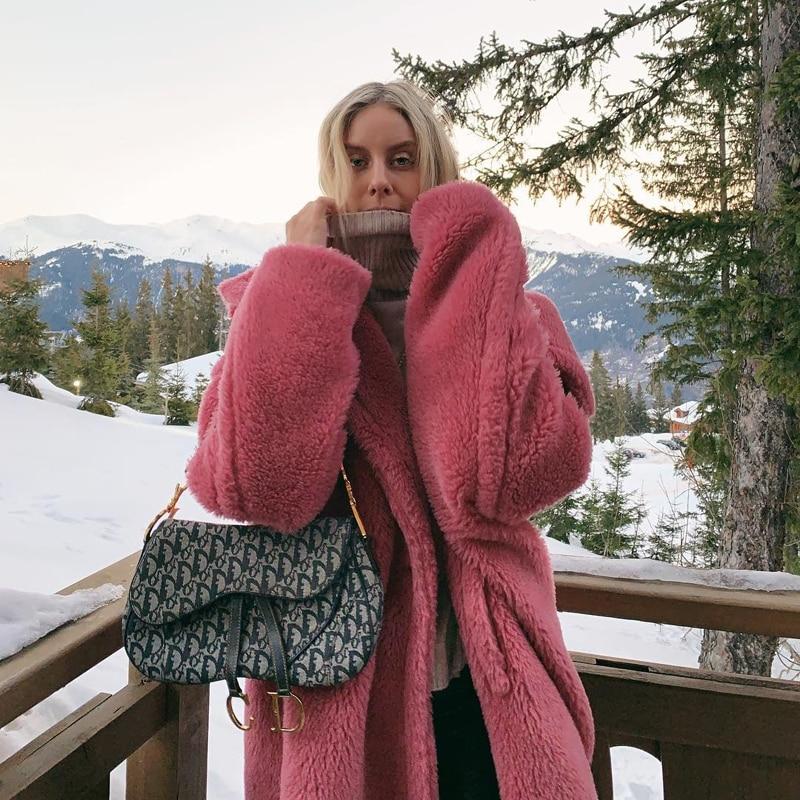 Pink Long Teddy Bear Jacket Coat Women Winter 2020 Thick Warm Oversized Chunky Outerwear Overcoat Women