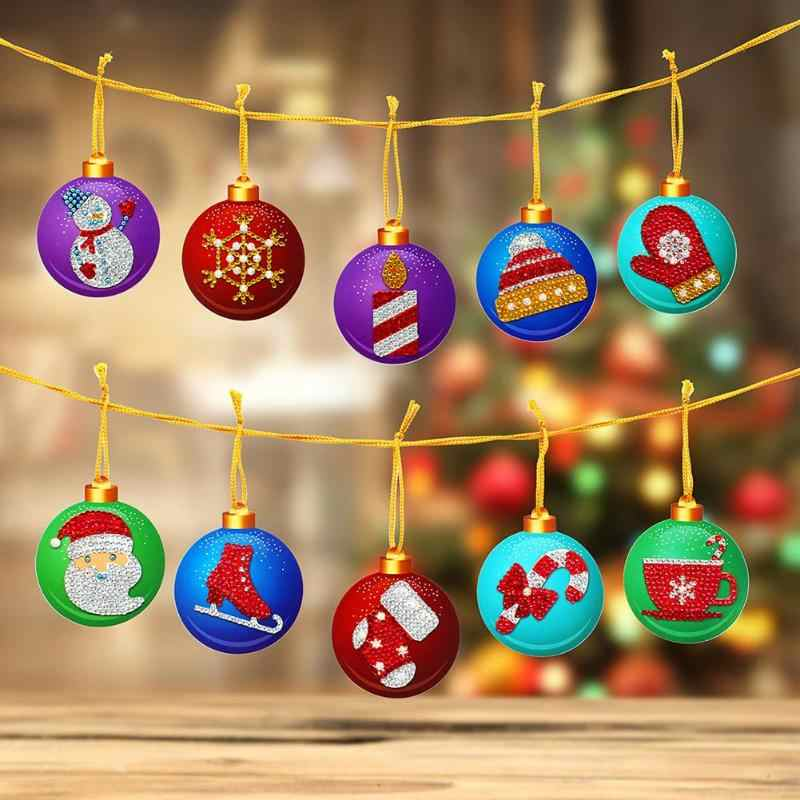 10pcs DIY Diamond Painting Christmas Tree Pendant Full Drills Special Shape Diamond Embroidery Christmas Decorations for Home