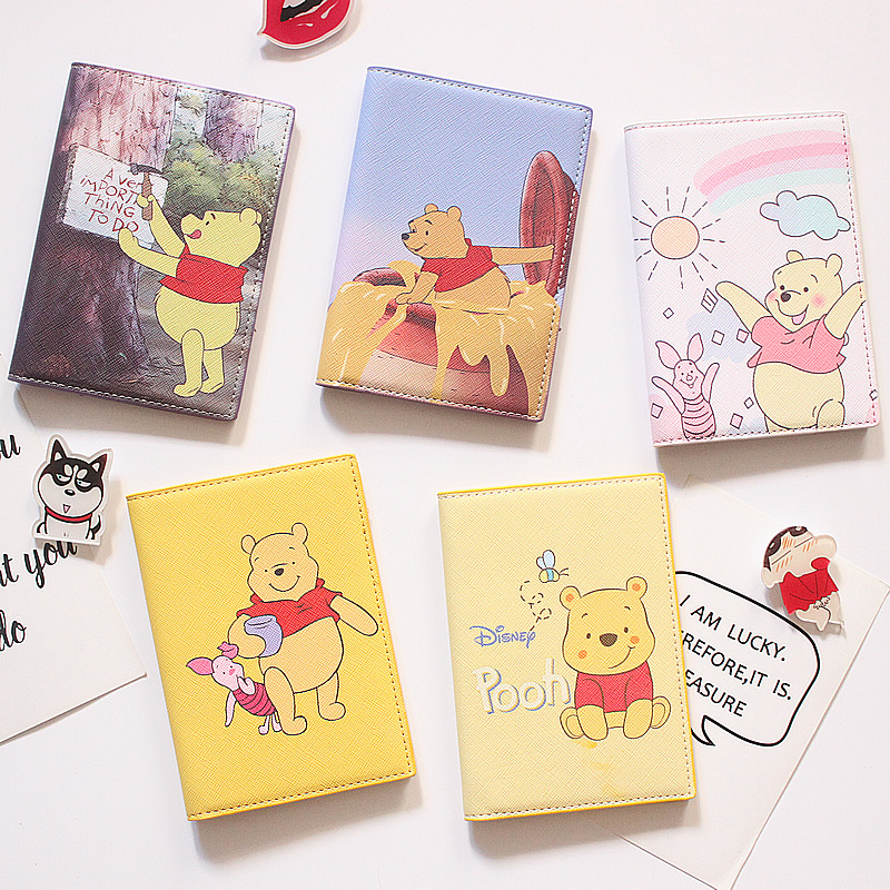Cartoon Yellow Bear Passport Cover Travel Accessories PU Leather ID Bank Card Bag Boy And Girls Passport Holder Credit Card Case