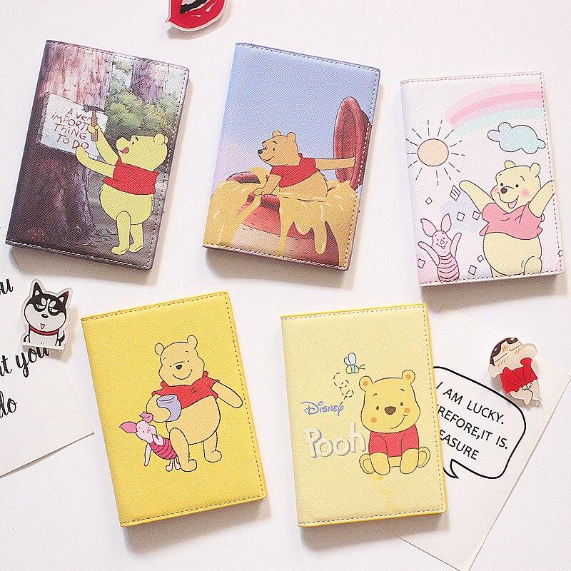Cartoon Yellow Bear Passport Cover Travel Accessories PU Leather ID Bank Card Bag Boy And Girls Passport Holder Credit Card Case