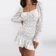 Женское платье с длинным рукавом lofia белое шифоновое мини