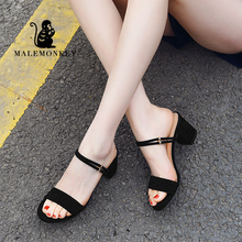 MALEMONKEY 821517 Peep Toe Sandals Sexy Heels Single Shoes 2020 Summer Party High Heel Ankle Strap Sandalias Female Shoes Women