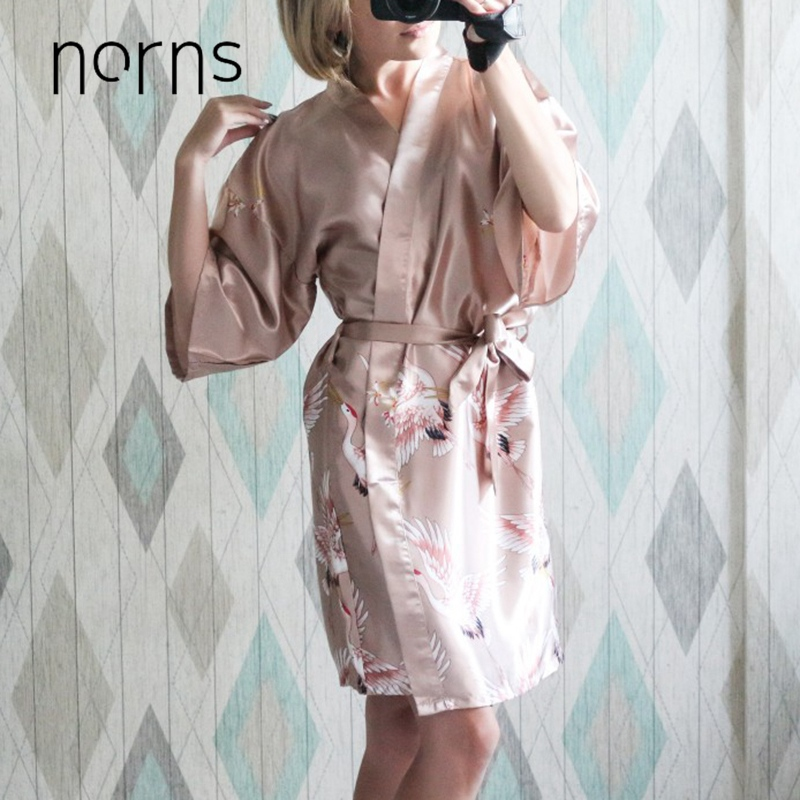 Norns Flower Silk Nightgown Print Ladies Women Sleeve Multicolor Pajamas Bathrobe Women Dressing Gown Night Robe Sleepwear