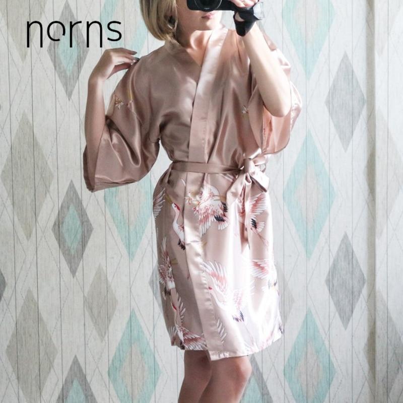 Norns Flower Silk Nightgown Print Ladies Women Sleeve Multicolor Pajamas Bathrobe Women Dressing Gown Night Robe Sleepwear