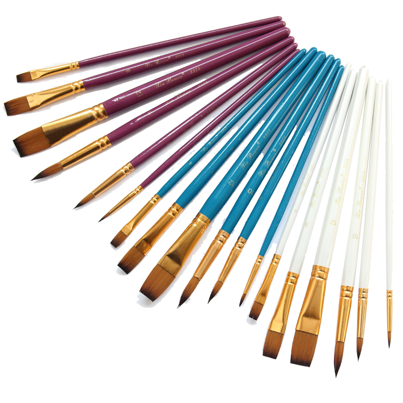 6 Pieces. Purple White Blue Colours Three Colors Optional Art Brush Set Of Nylon Hair Watercolor Acrylic Oil Painting Brushes