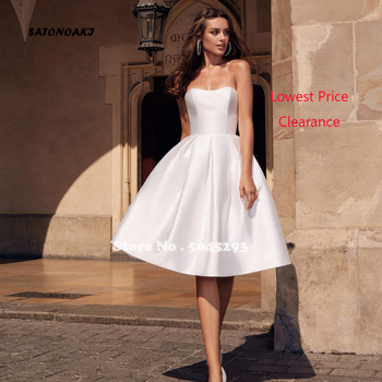 Simple Sweetheart Satin Wedding Dress 2020 Short Beach Bridal Gown With Pockets Knee-Length Vestidos De Noiva Undefined Online - discount item  33% OFF Wedding Dresses