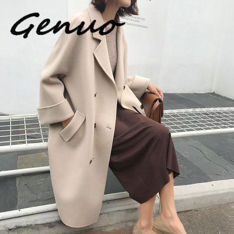 2019 nouvelle femme laine manteau haute qualité hiver veste femmes Slim laine Long cachemire laine manteaux Cardigan élégant mélange