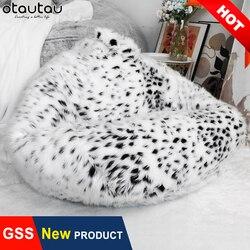 Lüks kar leopar kürk şişme koltuk dolgu ile dolması dev yumuşak puf minder büyük XXL Beanbag puf koltuk Relax salon mobilyası