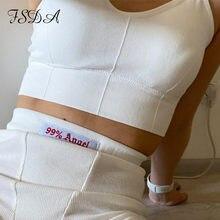 FSDA-Top corto blanco con tirantes finos para mujer, Top básico con sujetador, camiseta negra informal con Espalda descubierta, camisetas sin mangas sexis 2020