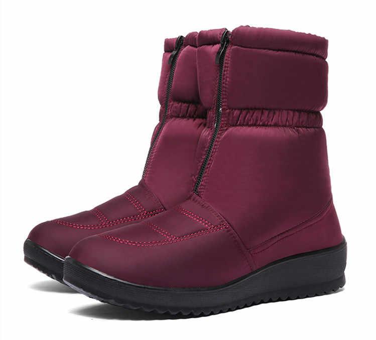 Sepatu Bot Musim Dingin Wanita Tahan Air Hangat Sepatu Bot Salju Hitam Wanita Bulu Sepatu Platform Depan Zip Non-Slip Wedges Bota feminina 2019