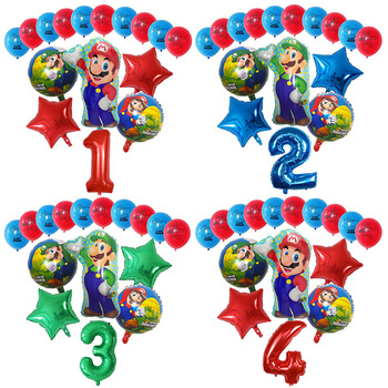 16 шт./компл. мультяшный рюкзак с принтом Супер Братья Марио и Луиджи шары набор 12 дюймов латексные 30 дюймов номер Globos День рождения украшения для детских игрушек подарок