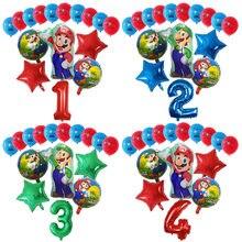 16 pçs/set Conjunto 12 polegada Látex Balões Dos Desenhos Animados Super Mario Bros Luigi 30 polegada Número Globos Decoração da Festa de Aniversário Crianças Brinquedos de Presente