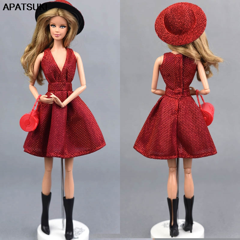 Classical Doll Dress For Barbie Doll Clothes Outfit Party Gown For Barbie Dollhouse Hat Handbag Shoes Boots 1/6 Doll Accessories|Dolls|   - AliExpress